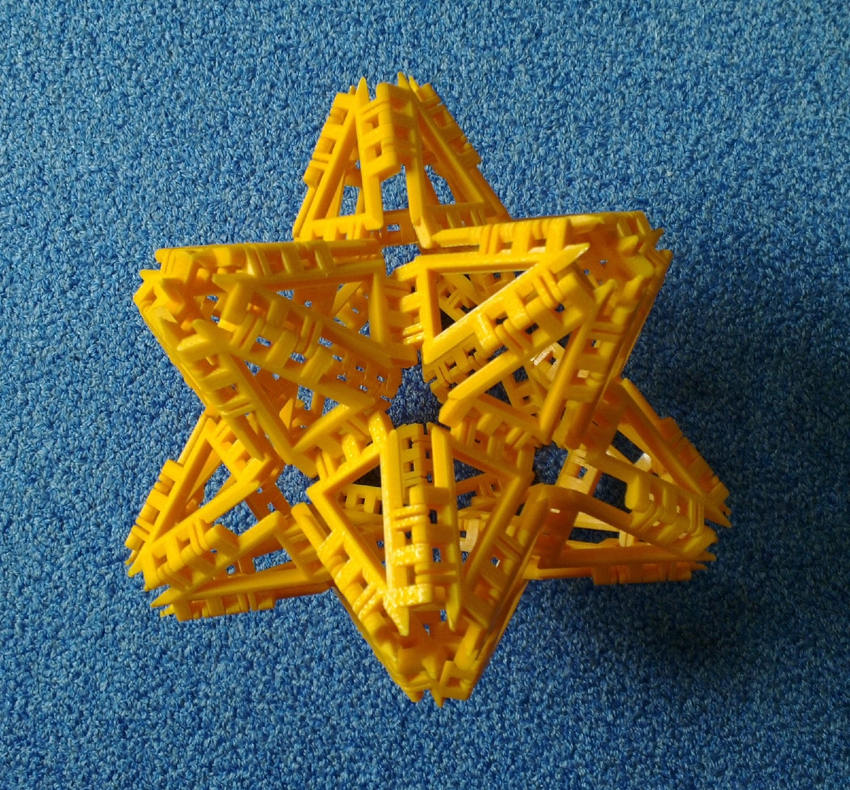 Great Stellated Dodecahedron, top view along 3-fold symmetry axis.