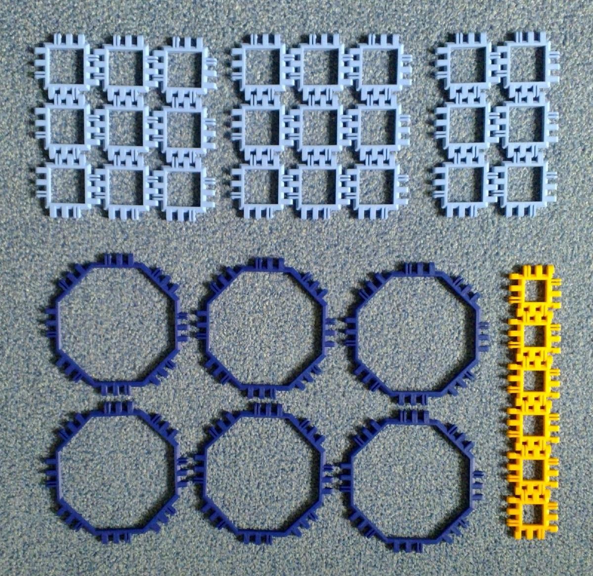Toroidal truncated cube assembly step 0