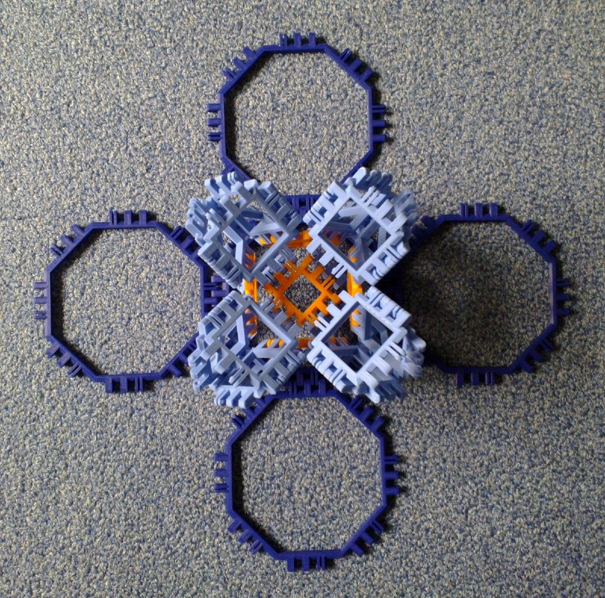 Toroidal truncated cube assembly step 6